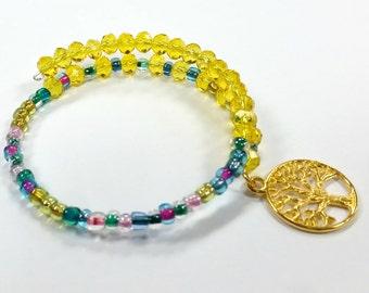 Memory Wire Bracelet, Beaded Bracelet, Beaded Coil Bracelet, Handmade,Custom, Beaded Jewelry, Women's Bracelet