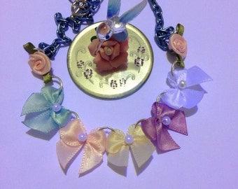 Pastel bow bib necklace, pastel rose necklace, kawaii bib necklace, spring necklace