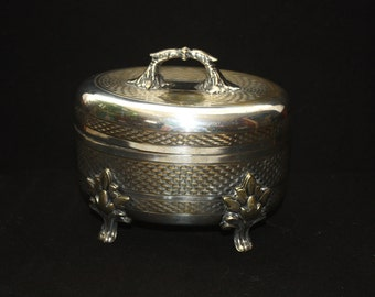 Beautiful Vintage Silver and Brass Hinged Lid Footed Jewelry or Trinket Box