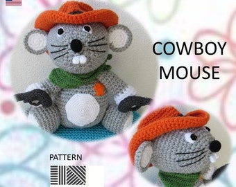 """PDF pattern  crochet """"Cowboy mouse"""""""