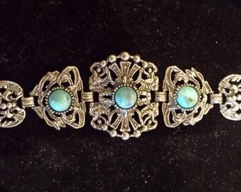 funky 70's faux turquoise bracelet