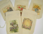 Muslin Bags, Set of 10 Assorted Floral Designs, Gift Bags, Party Favor Bags, Packaging Bags
