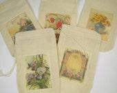 Mousselines, jeu de 10 motifs floraux assortis, sacs-cadeaux, partie Favor sacs, sacs d'emballage