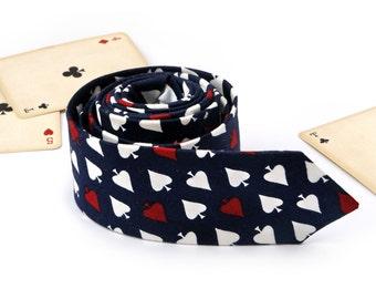 Spades Tie   Men's Navy Blue skinny tie   Wedding Ties   Necktie for Men FREE GIFT