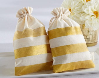 20 Gold Stripe Muslin Favor Bags Drawstring Favor Bags Wedding Favor Bags