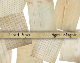 lined digital paper pack printable vintage journal or scrapbook 8.5 x 11 inch grungy paper instant download school paper crumpled shabby