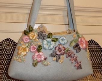 Blue Suede Garden Handbag