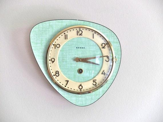 Pendule En Formica Bleu Vert Beboz Ann 233 Es 50 1950 Vintage