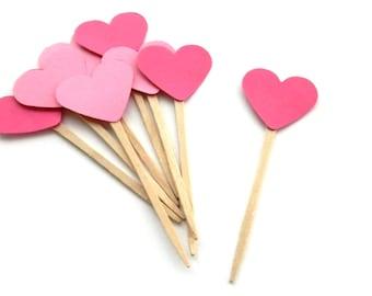 12 Pink Heart Picks. Wedding. Baby Shower. Heart Theme. Anniversary.