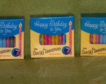 1965 Prudential Insurance 90th Anniversary Promotional Birthday Candles - 3 Unopened Plastic Wrapped Boxes
