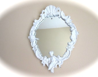 Vintage Cherub Mirror - Ornate - White distressed - Resin - Hollywood Regency  - Ornate Cherub Mirror