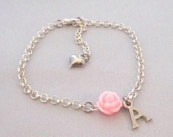 Personalized flower girl bracelet, flower girl gift, flower girl jewelry, wedding jewelry, childrens bracelet, childrens jewelry,