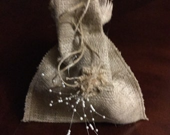 Burlap Shabby Chic Rustic Wedding Shower Favor Bag