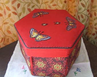 Vintage fabric hexagonal opening sewing box with butterflies