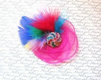 NEW:  Hot Pink Feathered Organza Hair Accessory, Newborn Headband, Baby Headband, Girl Headband, Womans Hair Accessory, Brooch, Photo Prop!
