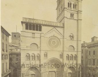 Genoa Cathedral Italy antique albumen photo A. Noack