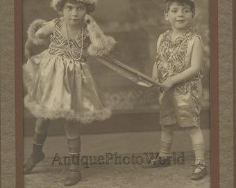Cute children in great costumes fun antique art photo