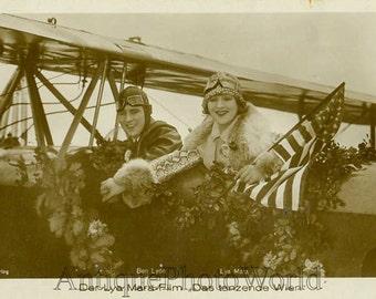 Lya Mara w US flag on air plane antique photo card