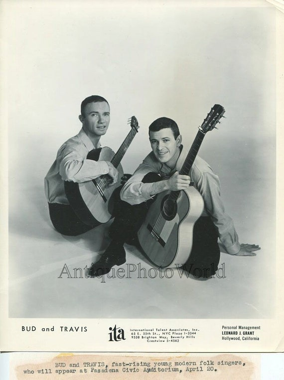 bud and travis modern folk singers band with guitar vintage