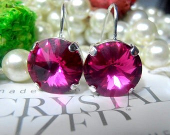 Fuchsia, Swarovski Earrings, Crystal, 12mm, Rivoli setting, Rhodium Plated, Dangle/Drop Earrings, Hook Setting Earrings