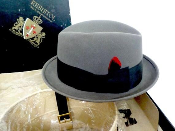 Mens Fedora Homburg, Mid Century, Gray Grey, Black Band, Mad Men Homburg Fedora, Mens Hat, Original Packaging, Fathers Day Sz 7, Never Worn