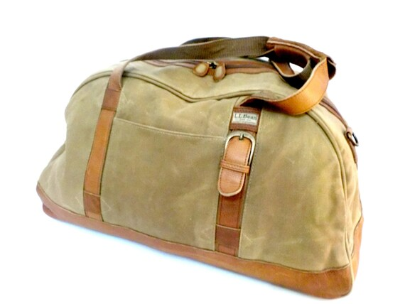 vintage ll bean duffle large canvas and leather duffle