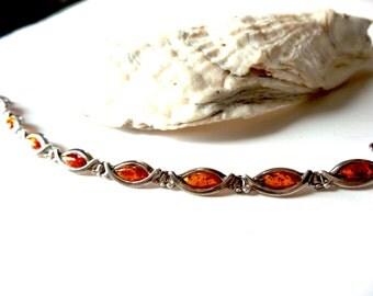 Baltic Amber , Sterling Silver Bracelet