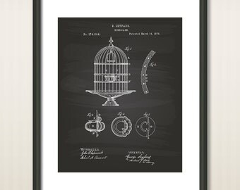 Birdcages 1876 Patent Art Illustration - Drawing - Printable INSTANT DOWNLOAD - Get 5 colors background