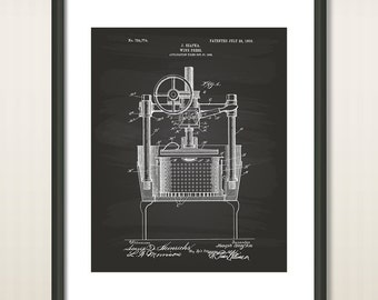 Wine Press 1903 Patent Art Illustration - Drawing - Printable INSTANT DOWNLOAD - Get 5 Colors Background