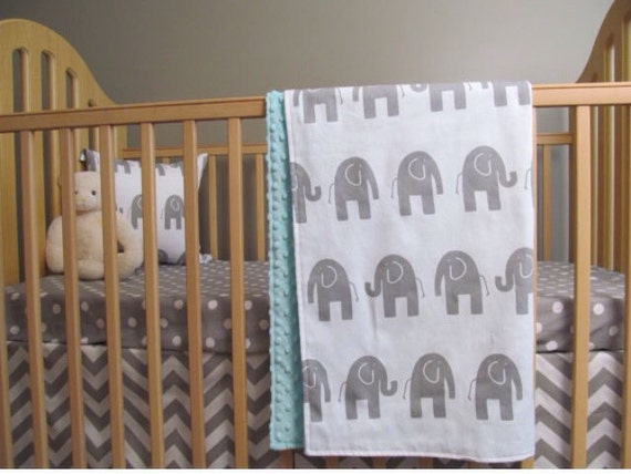 Elephant baby boy bedding custom minky blanket sheet crib skirt in