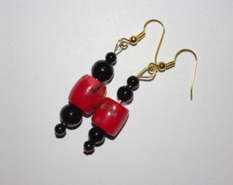 Handmade Pierced Earrings Red Coral with Black Beads - MB006-S