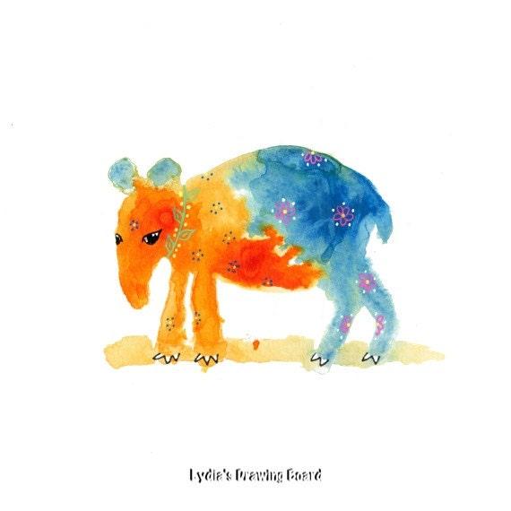 Tapir, Animal Art, Animal Artwork, Animal Art Print,Animal Art Nursery, Kids Room Art, Spirit Animal, Nature Art Print, Whimsical Art, Cute