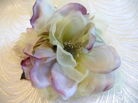 Silk And Velvet Lime Plum Magnolia Blossoms Large