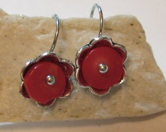 Natural Red Coral Sterling Silver Flower Earrings ,Red Coral Earrings Silver Hooks,Gem Earrings