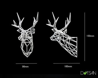 Medium Faceted Stag, 3D printed Stag Head wall mounted