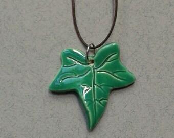 Ceramic Ivy Leaf Pendant