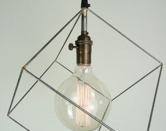 Cube Pendant Light Minimal Hanging Square Geometric