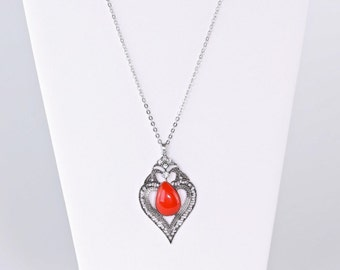 Silver and red pendant necklace
