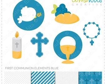 First Communion Elements Clip Art & Digital Paper