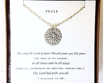Peace  2 Thessalonians 3:16 Daily Reminder Necklace.  Gifts for her, encouragement