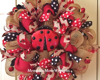 Ladybug Burlap Deco Mesh Wreath - Deco Mesh Wreath - Burlap Mesh Wreath