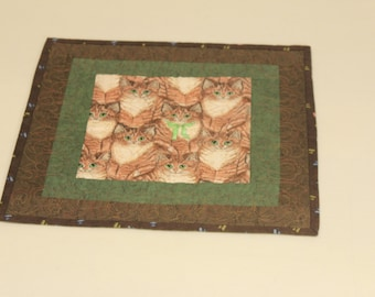 Kittens Mini Quilt table top, beautyfully Embroidered!