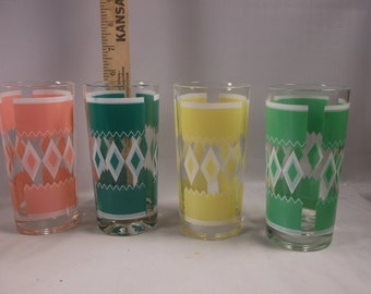 Drinking Glasses 4 Vintage Atomic  Diamond Bright Colors  Mid Century Modern MCM Retro.epsteam
