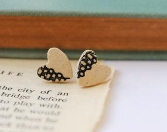 Heart Earrings - Ceramic Earrings - Lace Print