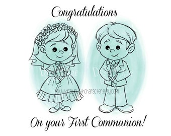 First Communion Girl and Boy Detailed Design with Sentiment, Digital Stamp