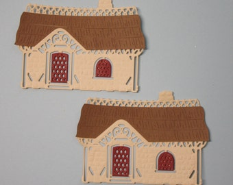2 Cozy Cottages/Die Cuts/Embellishments/Paper Cuts/Scrapbooking/Card Making/Spellbinders