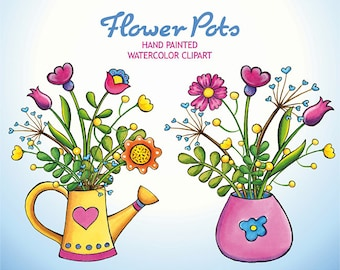 Watercolor Flowers Clip Art, Hand Drawn Floral Clipart, Summer Flower Pots, Birthday Floral Clipart, Flowers Bouquets, Diy Valentines Day