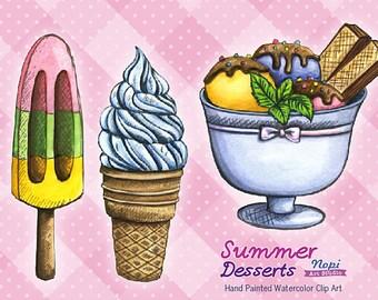 Watercolor Ice Cream Clipart, Sweets Clipart, Summer Desserts, Ice Cream Cone, Party Invitation, Paper Crafts Scrapbook, Ice Cream Scoop