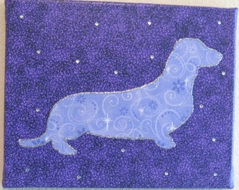 FREE SHIPPING!! Daschund Wall art. Fabric canvas wall art. Swarovski crystal embellishments. Canvas art 8x10.Personalize pets name
