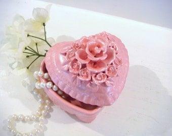 Heart shaped box,  valentines day gift, trinket box, pink jewelry box, ceramic box, shabby chic box, keepsake box, girls jewelry box